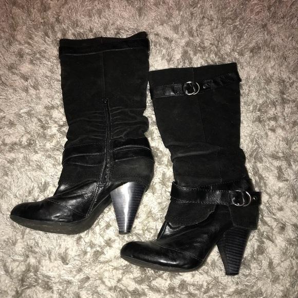 Black Mid Calf Heeled Boots | Poshmark